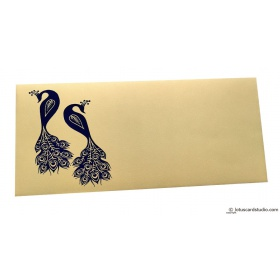 Money Envelope in Bright Beige with Blue Peacocks