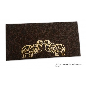 Brown Flower Flocked Money Envelope with Golden Elephants