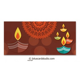 Colorful Diyas Brown Shagun Envelope