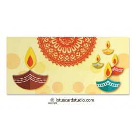 Colorful Diyas Cream Shagun Envelope