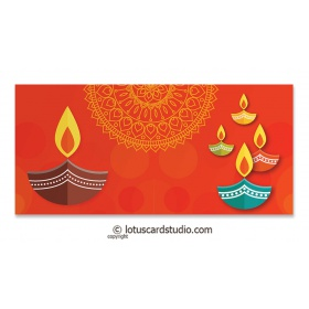 Colorful Diyas Orange Shagun Envelope