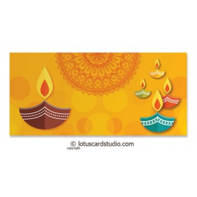 Colorful Diya Golden Shagun Envelope