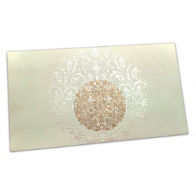 Exclusive Sized Golden Crown Flower Envelope in Ivory