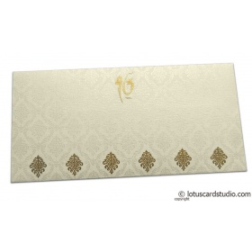 Damask Pattern Shagun Envelope in Ivory