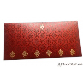 Damask Pattern Shagun Envelope in Royal Red