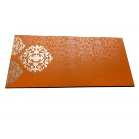 Shagun Envelope in Yellowish Orange with Classy Floral Design