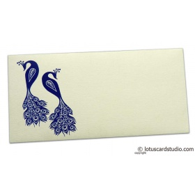 Money Envelope in Ivory with Blue Peacocks