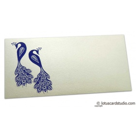 Money Envelope in Ivory Pearl with Blue Peacocks
