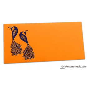Money Envelope in Amber Orange with Blue Peacocks