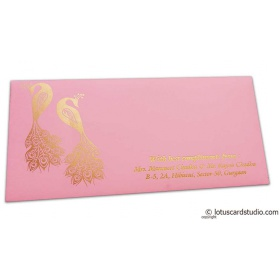 Money Envelope in Light Pink with Golden Peacocks