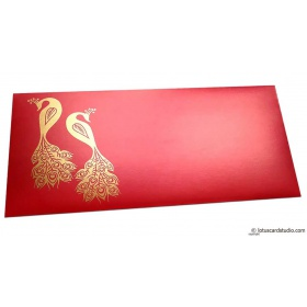 Money Envelope in Classic Red with Golden Peacocks