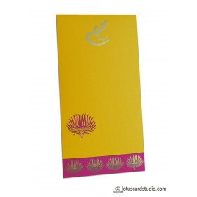 Lotus Theme Shagun Envelope in Yellow