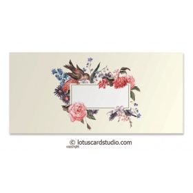 Gift Envelope with Bird and Vintage Flowers
