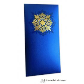 Golden Hot Foil Floral Printed on Imperial Blue Envelope