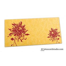 Golden Beige Flower Flocked Shagun Envelope with Pink Spider Flower