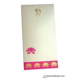 Lotus Theme Shagun Envelope in Pearl Ivory
