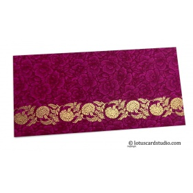 Magenta Flower Flocked Money Envelope with Golden Floral Vine