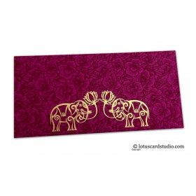 Magenta Flower Flocked Money Envelope with Golden Elephants