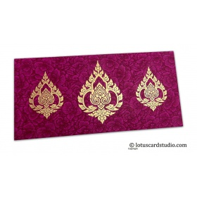 Magenta Flower Flocked Shagun Envelope with Golden Damasks