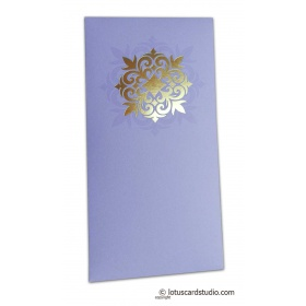 Golden Hot Foil Floral Printed on Lavender Envelope