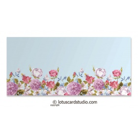 Multicolor Vintage Flowers on Sky Blue Theme Gift Envelope