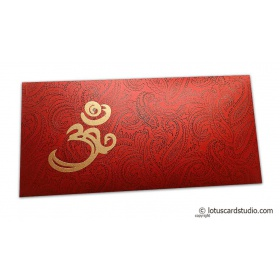 Om and Paisley Themed Money Envelope in Royal Red