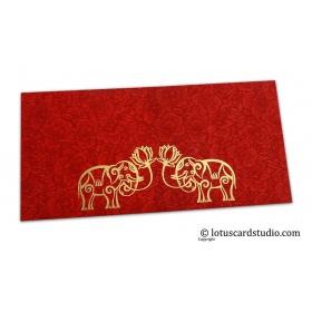Red Flower Flocked Money Envelope with Golden Elephants