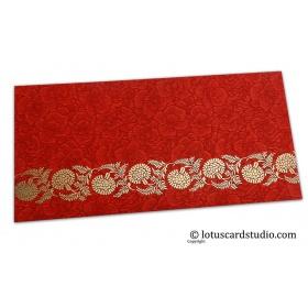 Red Flower Flocked Money Envelope with Golden Floral Vine
