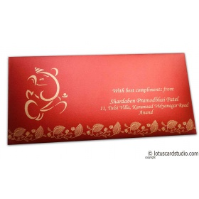 Ganesha Shagun Envelope in Royal Red with Floral Border