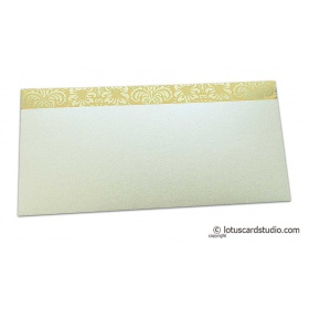 Shagun Envelope in Pearl Shimmer with Golden Flowers on Beige