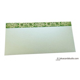 Shagun Envelope in Pearl Shimmer with Golden Flowers on Green