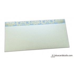 Shagun Envelope in Pearl Shimmer with Golden Flowers on Lavender
