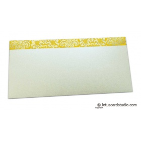 Shagun Envelope in Pearl Shimmer with Golden Flowers on Yellow