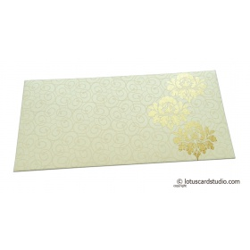 Shagun Money Envelope with Swirl Design and Golden Flowers on Ivory