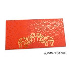 Vibrant Foil Metallic Orange Money Envelope with Golden Elephants