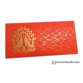 Vibrant Foil Metallic Orange Money Envelope with Golden Peacocks