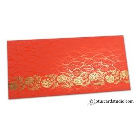 Vibrant Foil Metallic Orange Shagun Envelope with Golden Floral Vine
