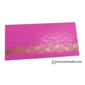 Vibrant Foil Metallic Pink Shagun Envelope with Golden Floral Vine