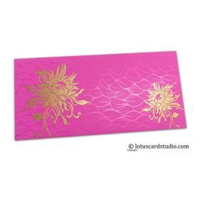 Vibrant Foil Metallic Pink Shagun Envelope with Golden Spider Flower