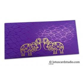 Vibrant Foil Metallic Purple Money Envelope with Golden Elephants