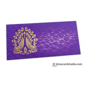 Vibrant Foil Metallic Purple Money Envelope with Golden Peacocks
