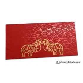 Vibrant Foil Metallic Red Money Envelope with Golden Elephants