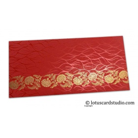 Vibrant Foil Metallic Red Shagun Envelope with Golden Floral Vine