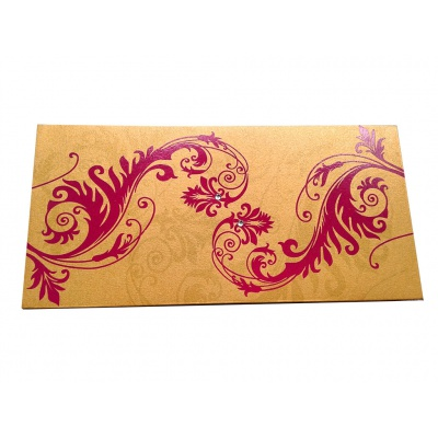 Indian Money Envelope In Rich Gold With Designer Floral Theme