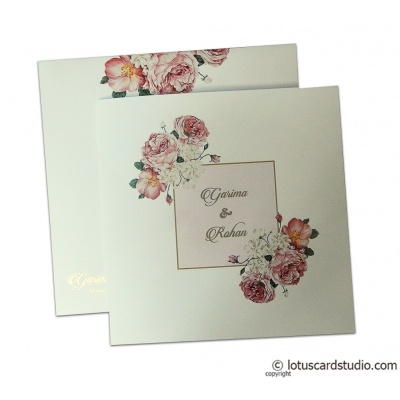 Digital Print Floral Design Wedding Invitation