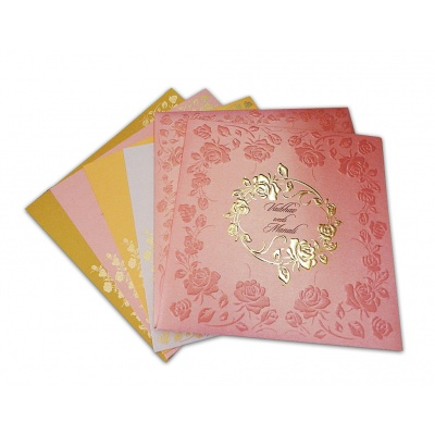 rose pink wedding invitation with embossed rose flowers - Indian Wedding Invitations