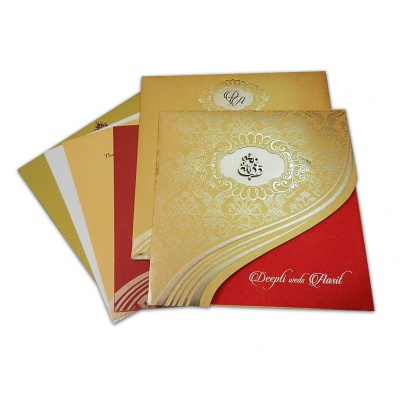 Royal Red And Golden Curve Cut Style Wedding Invitation