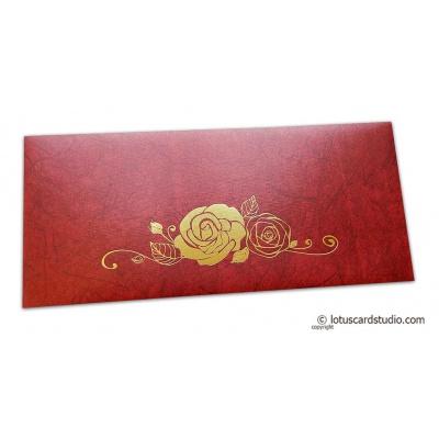 Perfumed Designer Shagun Envelopes In Royal Red With Hot Foil Rose
