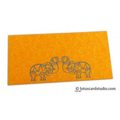 Front view of Amber Yellow Flower Flocked Money Envelope with Grey Elephants