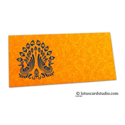 Front view of Amber Yellow Flower Flocked Shagun Envelope with Blue Peacocks